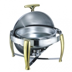 6.5 Qt. Round Mirror Finish Gold Stainless Steel Roll Top Chafer(New)